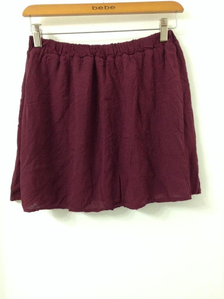 Brandy Melville Elastic Waist Mini Boho Skirt in Wine Maroon | eBay