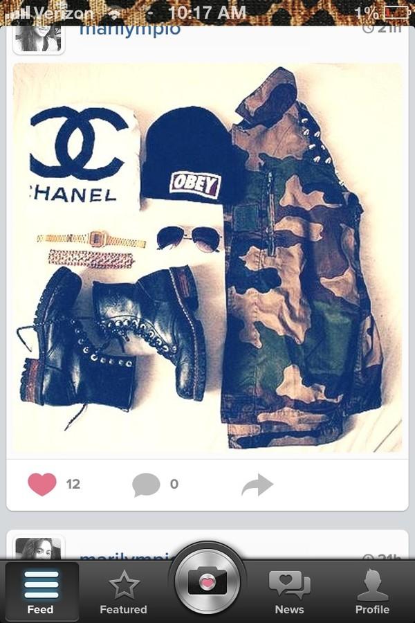 jacket camouflage shoes hat shirt