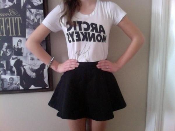 t-shirt skirt skater black black skirt arctic monkeys band t-shirt skater skirt