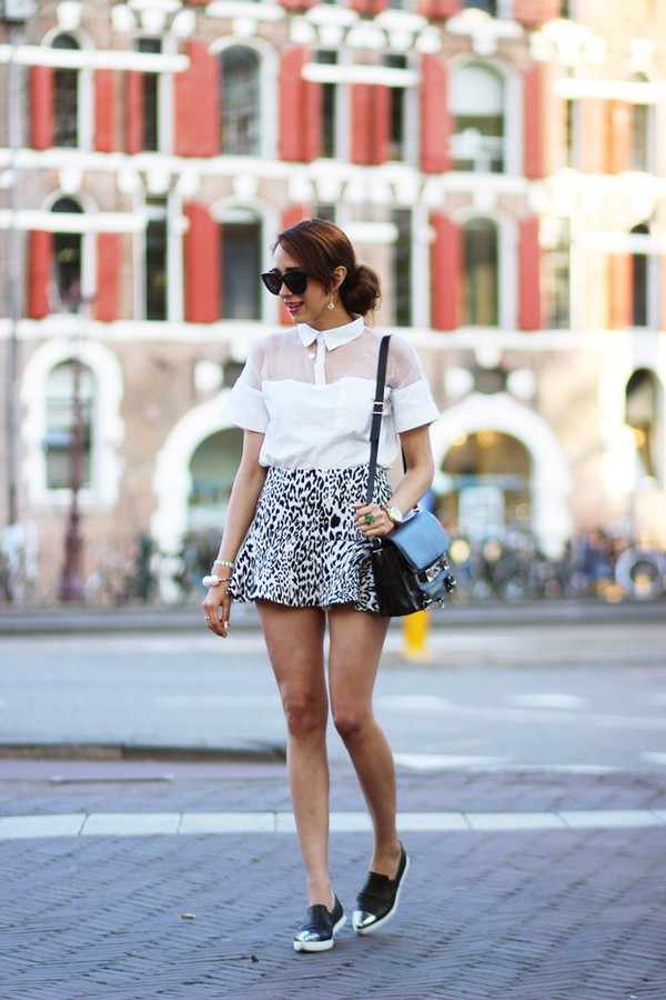 preppy fashionist sunglasses top skirt bag jewels