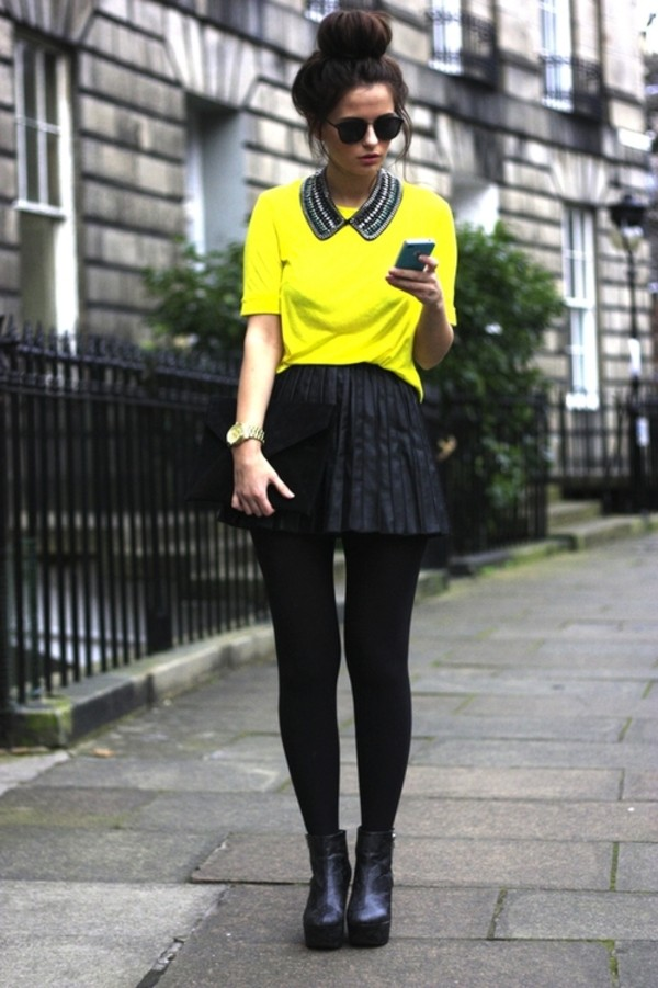 t-shirt neon yellow shirt crop shirt boots skirt yellow t-shirt