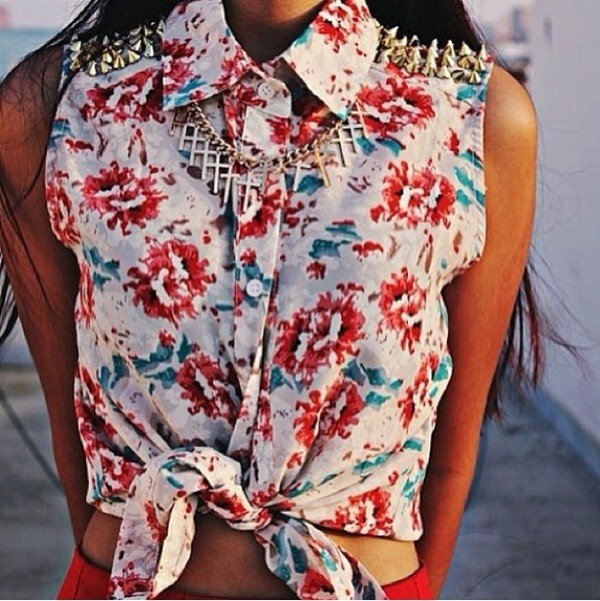 shirt cross necklace floral studded collar blouse jewels
