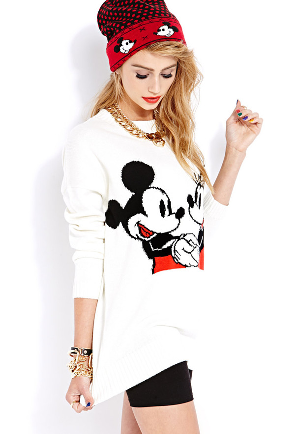 sweater forever 21 mickey mouse beanie hat