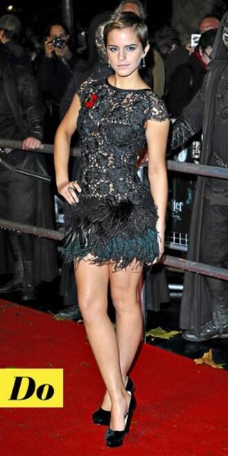 plume dentelle mini celebrity emma watson black dress dress