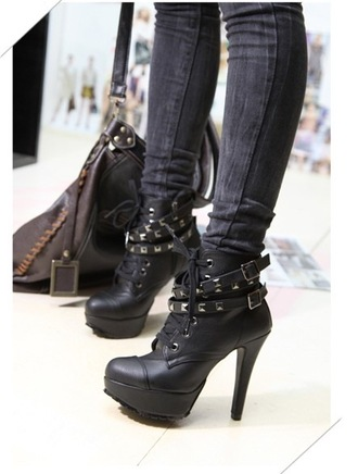 shoes studs sexy heels biker ankle boots chic black leather studded shoes black  high heels boots boots grunge fashion style fall outfits buckles footwear badass cool trendy faux leather high heels platform shoes booties studded straps lace up stilettos laces