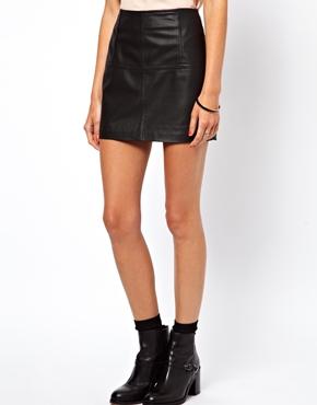 ASOS   ASOS Mini Skirt in Leather at ASOS