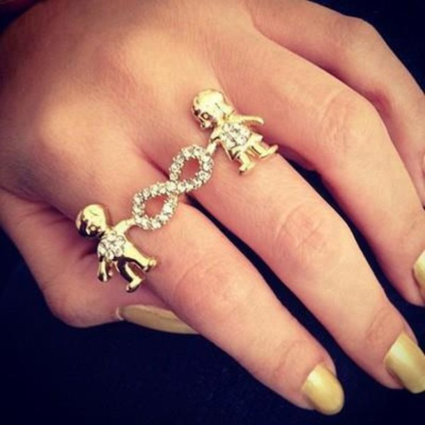 Jewels double ring ring infinity boy girl gold diamonds
