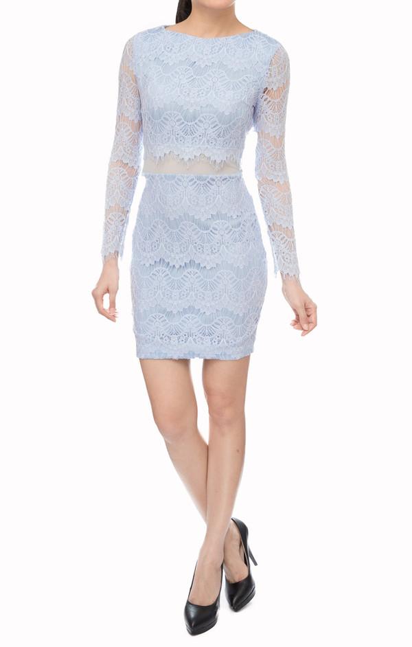 women lace dress mesh sheer shift dress feminine baby blue dress