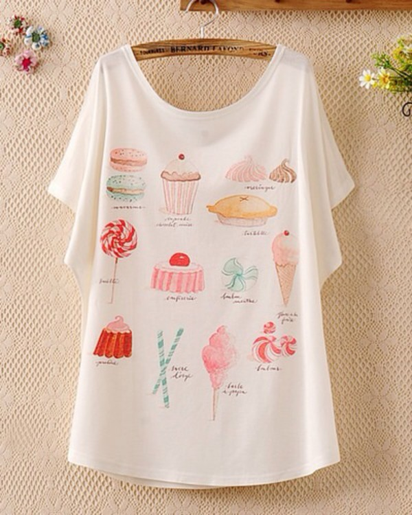t-shirt candy colorful style fashion summer white red chery colorful ice cream