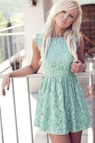 dress lace mint skater skirt clothes light blue mini dress cute dress blue green blue lace dress short dress blue dress