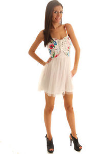Dhstyles Sweet Girly Floral Corset Party Dress Large White Blue Pink   eBay