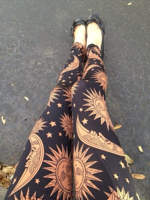 pants leggings sun moon black tan