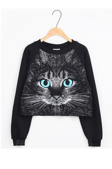 Serious Cat Head Print Pullover [FOBK00138] - PersunMall.com