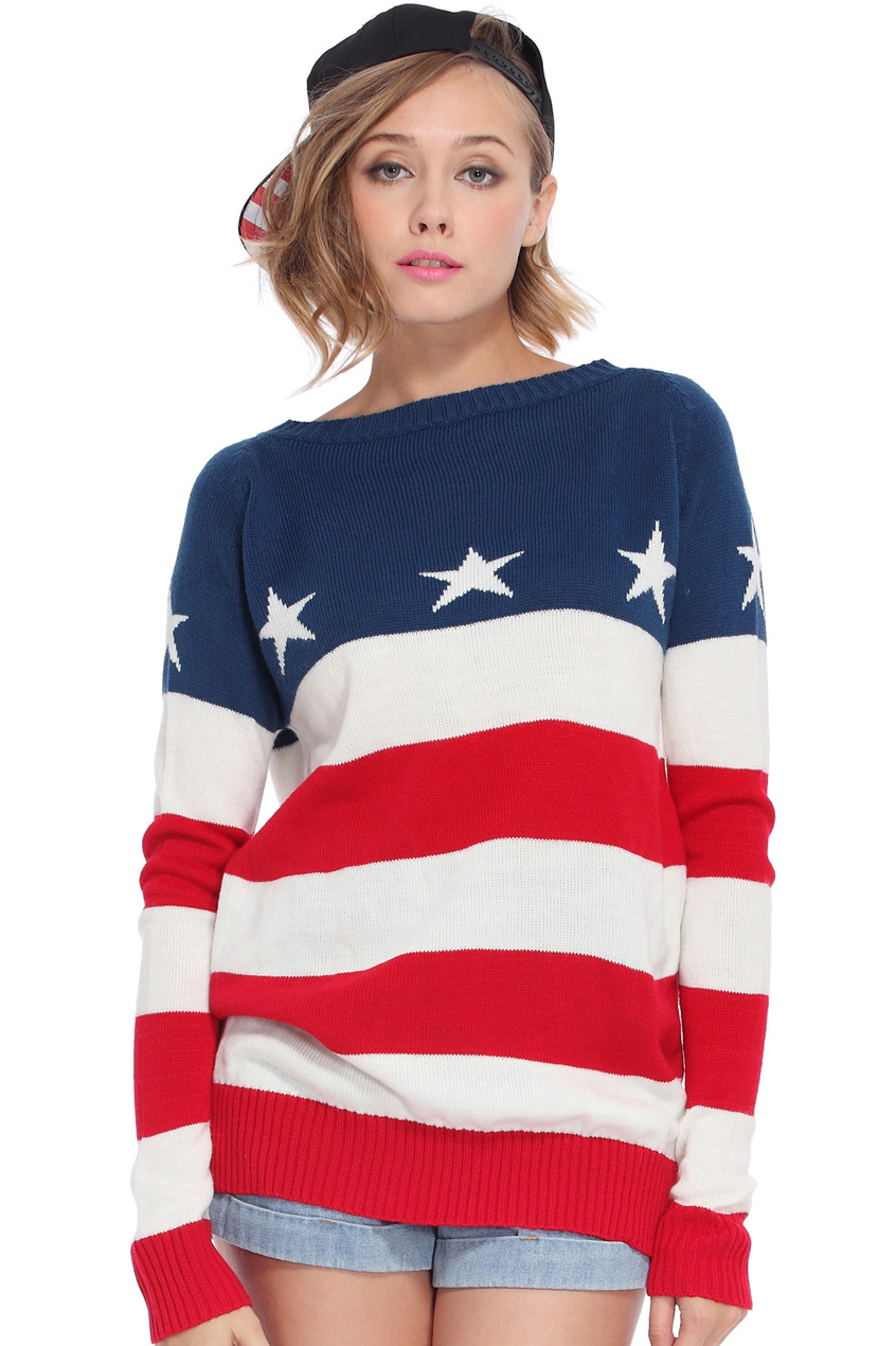 ROMWE | Red-white Striped Stars Print Blue Jumper, The Latest Street Fashion