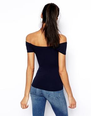 ASOS   ASOS Bardot Neckline Top with Short Sleeve at ASOS