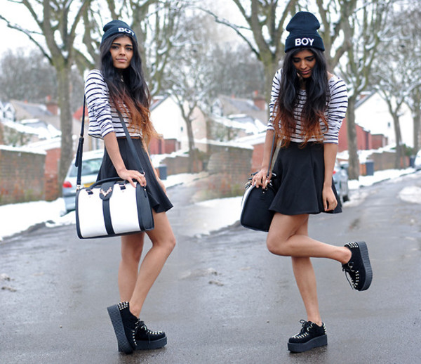 shoes top creepers beanie skirt black bag t-shirt
