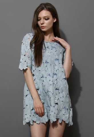 dress floral crochet shift blue