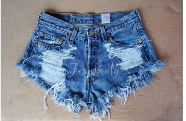 Ripped Denim High Waisted Shorts - The Else
