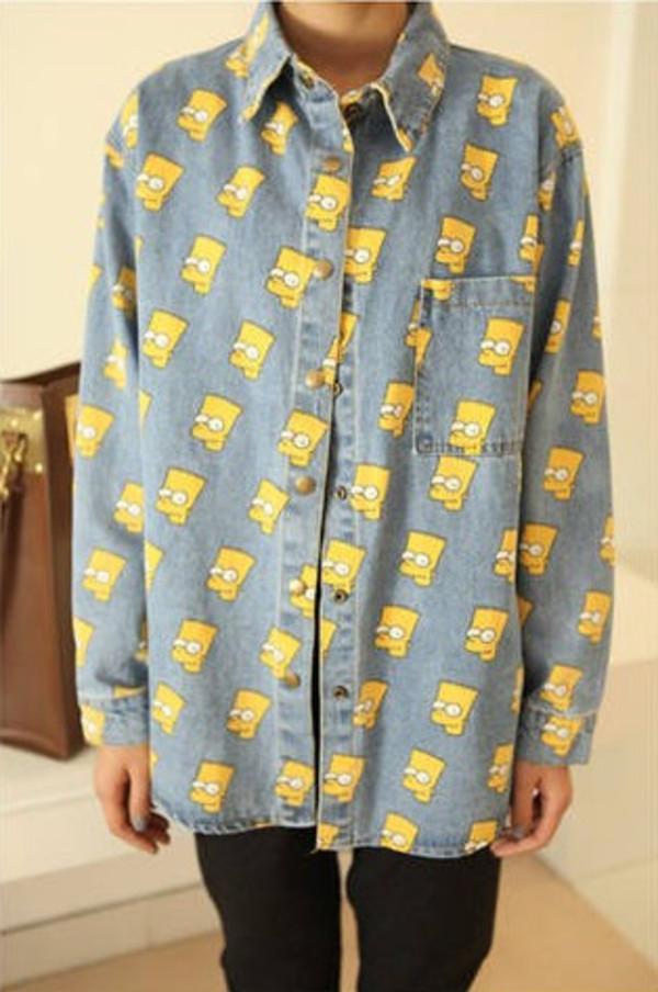 shirt bart simpson button up oversized shirt