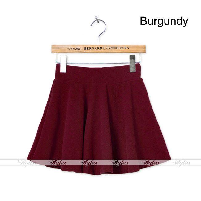 High Waist Stretch Adjustment Pleated Jersey Plain Skater Flared Mini Skirt | eBay
