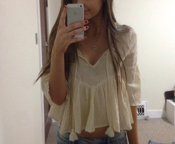 shirt white white t-shirt flowy old fashioned crop tops hippie cute shirt long sleeves