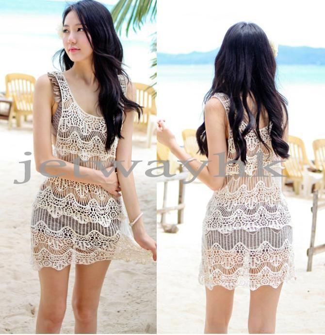 Women Lace Crochet Sleeveless Swimwear Bikini Cover Up Beach Dress Black Beige | eBay