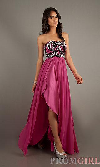 Long Strapless Prom Dresses, Ruffled Skirt Gowns- PromGirl