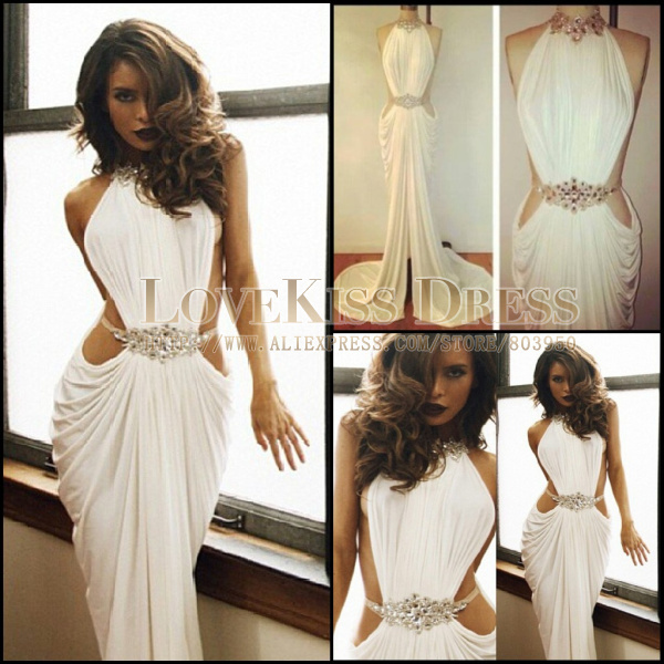 Real Made Sexy Vestidos De Fiesta Crystal Beaded High Neck White Mermaid Long Prom Dress 2014 DYQ912-in Prom Dresses from Apparel & Accessories on Aliexpress.com