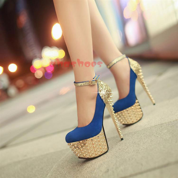 High End Womens Elegant Sexy High Heels Lady Fashion Rivet Platform Pumps Shoes | eBay