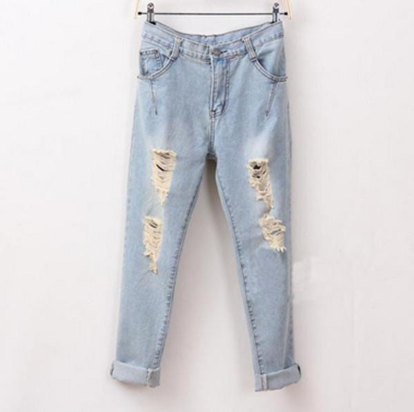 jeans light blue denim boyfriend jeans cute ripped jeans ripped tumblr
