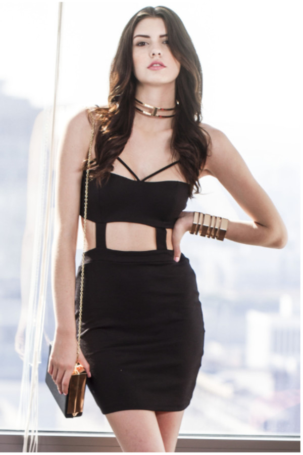 dress black dress dress cut-out dress bodycon dress black body con dress cutout bodycon dress