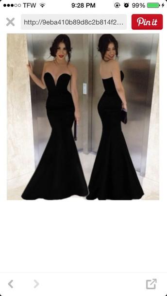 dress black sweat heart strapless