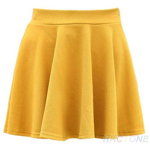 Women's Lady's Candy Color Waist Pleated Jersey Skater Flared Mini Skirts B75U   eBay