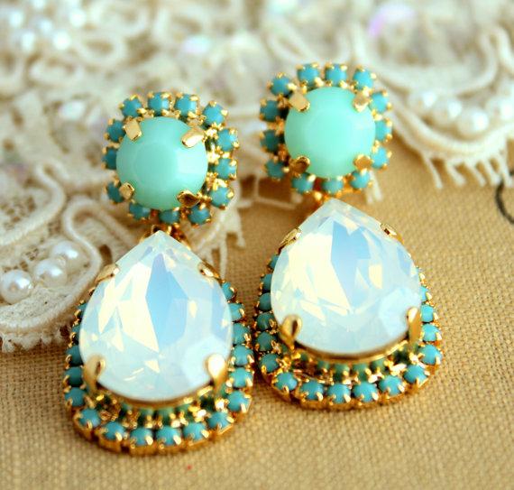 Mint Turquoise white opal chandelier earrings Drop by iloniti