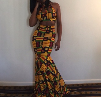 dress two-piece crop tops mermaid prom dress tribal pattern african print pattern outfit bralette high waisted high waisted skirt maxi dress african american