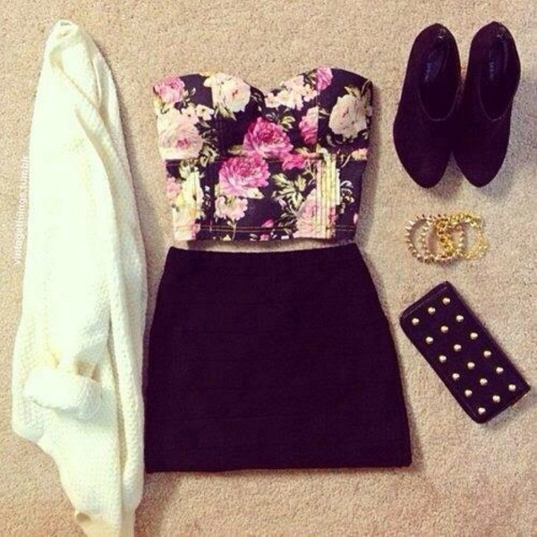 skirt black flowers shoes jacket top t-shirt