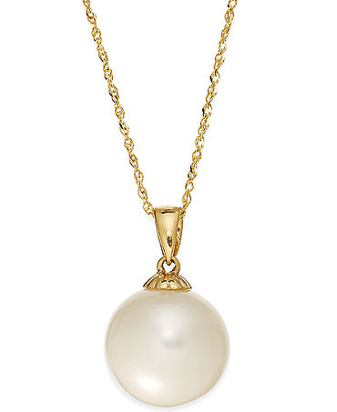 Pearl Necklace, 14k Gold Cultured Freshwater Pearl Pendant (11mm) - Necklaces - Jewelry & Watches - Macy's