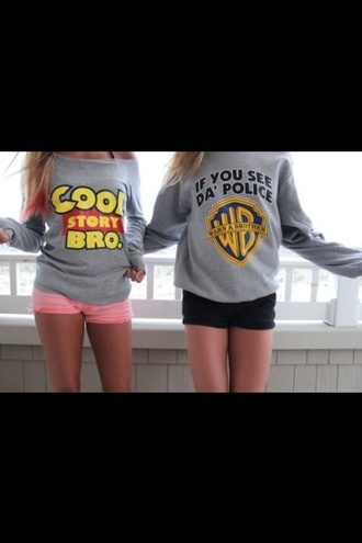 sweater cool story bro warn a brother light sweater toy story warner brothers