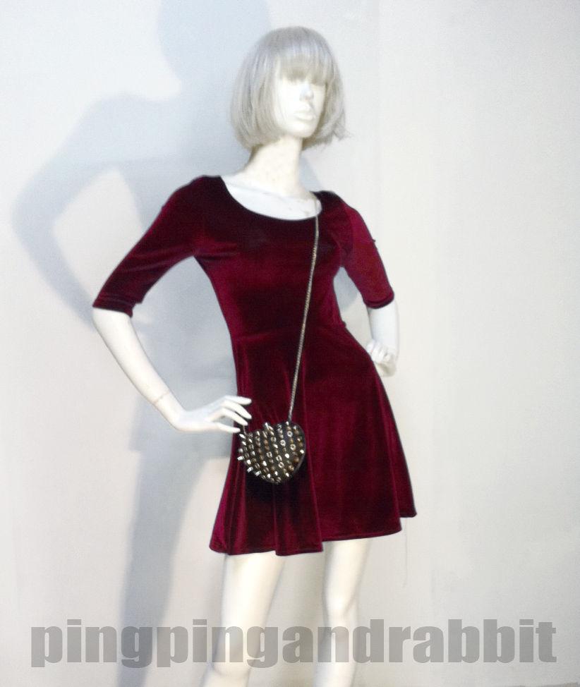 Velvet Skater Dress Burgundy Mini Above Knee Spandex Winter Dark Red Brown | eBay