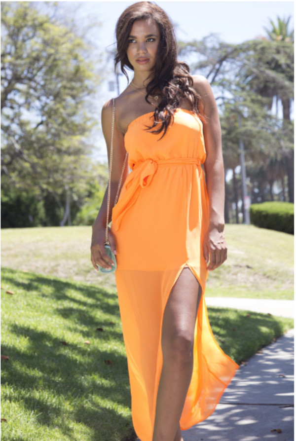 dress maxi dress tube maxi dress neon orange neon orange dress solid dress off the shoulder off the shoulder dress sleeveless dess summer dress