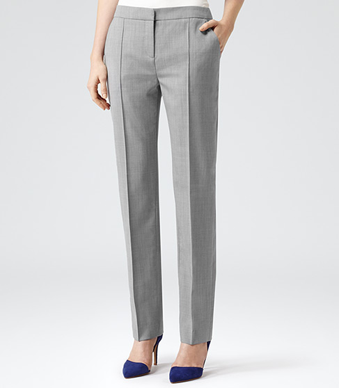 Nell Arc Mid Grey Tailored Trousers - REISS