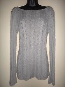 J Crew Mohair Wool Blend Fuzzy Pale Gray Cable Knit Sexy Stretch Fit Sweater M | eBay