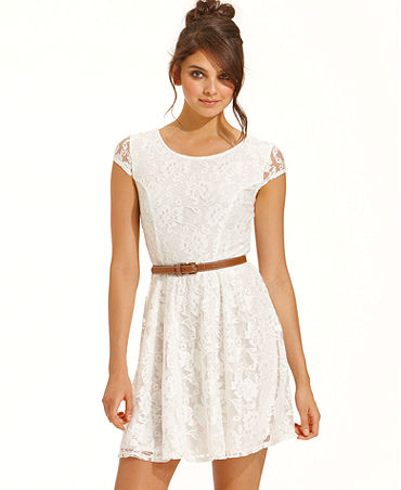 BCX Juniors Dress, Cap-Sleeve Belted Lace - Juniors Dresses - Macy's