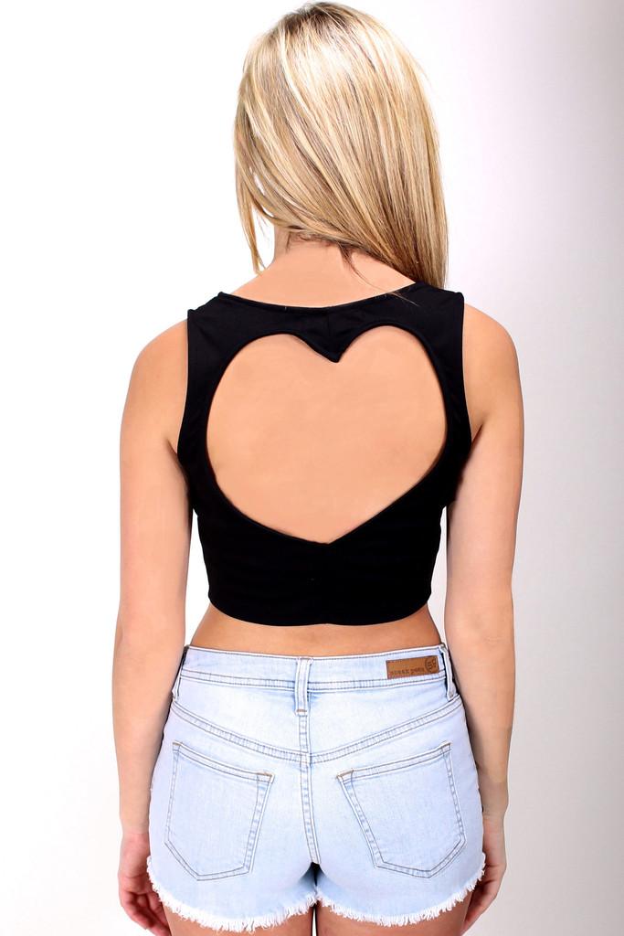 Heart Cutout Crop Top in Black - Haute Miss