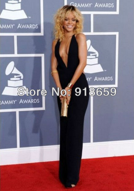 F522 Custom Made Backless Sleeveless sheath Sexy deep v neck Rihanna Celebrity Red Carpet Dress-in Celebrity-Inspired Dresses from Apparel & Accessories on Aliexpress.com