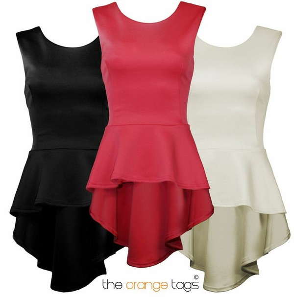 dress skater top peplum coral black white cream red sexy fishtail party trendy high-low dresses yawn stretch and read Pin up
