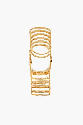 Dominic Jones Yellow Gold Nama Cage Ring for women | SSENSE