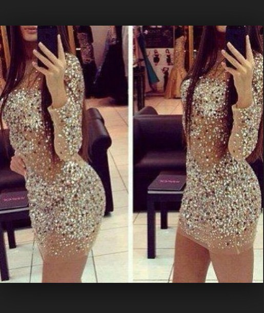 dress rhinestones glitter dress sparkly dress bodycon dress