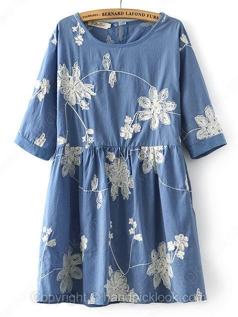Blue Round Neck Short Sleeve Appliques Loose Dress - HandpickLook.com