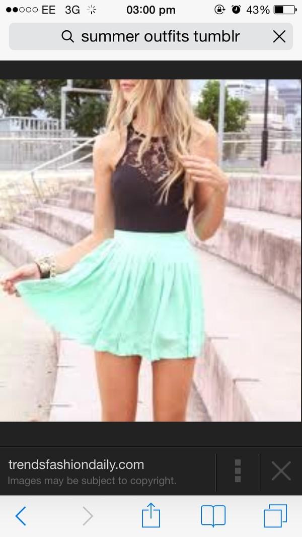skirt green summer mint blouse